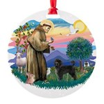 St.Francis #2/ PWD (ret cut) Round Ornament