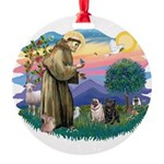 St.Francis #2/ Pugs (2-blk/f) Round Ornament