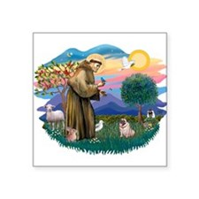 "St Francis #2/ Pug (fawn) Square Sticker 3"" x 3"""