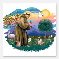 """St Francis #2/ Pug (fawn) Square Car Magnet 3"""" x 3"""