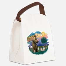 St.Francis #2/ Pugs (2 fawn) Canvas Lunch Bag