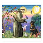 St Francis / Rottweiler Square Car Magnet 3
