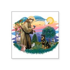 "St.Francis #2/ Rottweiler Square Sticker 3"" x"