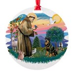 St.Francis #2/ Rottweiler Round Ornament