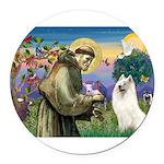 St Francis & Samoyed Round Car Magnet