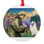 St Francis & Samoyed Round Ornament