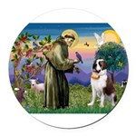 St. Francis/ St. Bernard Round Car Magnet