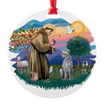 St Francis #2/ S Deer. #2 Round Ornament