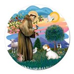 St Francis #2/ Sealyham T Round Car Magnet