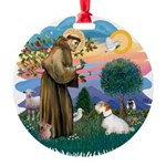 St Francis #2/ Sealyham T Round Ornament