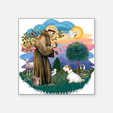 "St Francis #2/ Sealyham T Square Sticker 3"" x 3"""