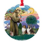 St.Francis #2/ 2 Shelties Round Ornament
