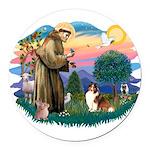 St.Francis #2/ Sheltie (sw) Round Car Magnet
