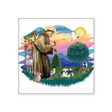 St.Francis #2 / Shih Tzu (A) Square Sticker 3&quot