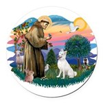 St.Francis #2/ S Husky (W) Round Car Magnet