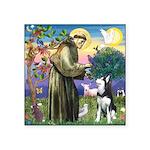 St Francis & Husky Square Sticker 3