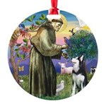 St Francis & Husky Round Ornament