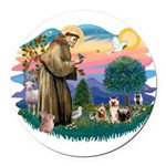 St.Francis #2/ Silkies (2) Round Car Magnet
