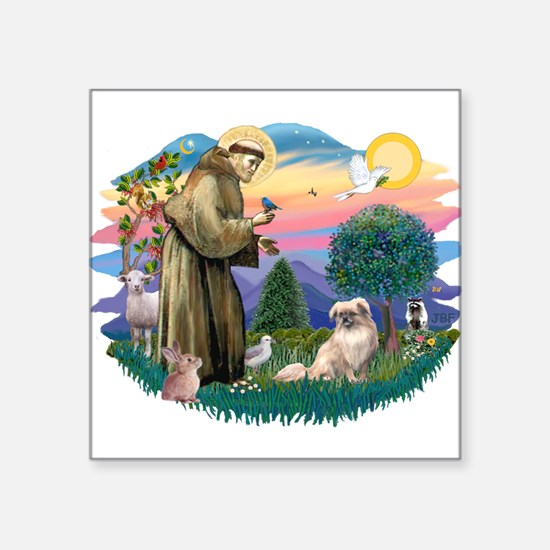 "St.Francis #2/ Tibetan Span Square Sticker 3"""