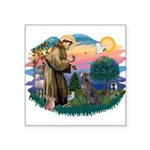 St.Francis #2/ Weimaraner #1 Square Sticker 3&quot