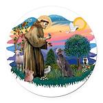 St.Francis #2/ Weimaraner #1 Round Car Magnet