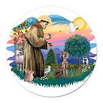 St.Francis #2 / Weimaraner Round Car Magnet