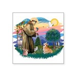 St.Francis #2/ Welsh Corgi Square Sticker 3""