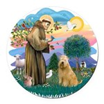 St Francis #2/ Wheaten #2 Round Car Magnet