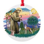 St.Francis #2/ Whippet #12 Round Ornament