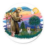 St Francis #2/ Yorkie #13 Round Car Magnet
