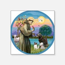 """St Francis/3 dogs Square Sticker 3"""" x 3"""""""