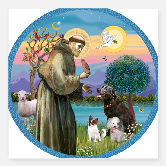 "St Francis/3 dogs Square Car Magnet 3"" x 3"""