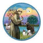St Francis/3 dogs Round Car Magnet