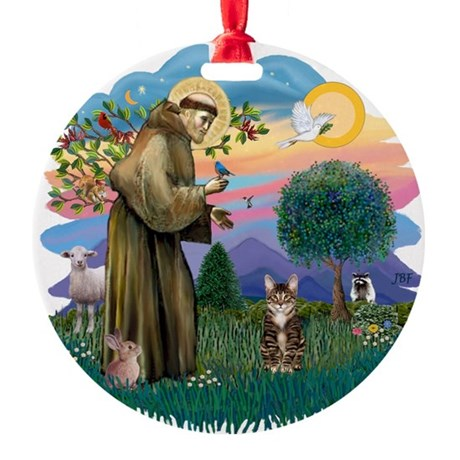 St. Fran (ff) - Brown Tabby Round Ornament
