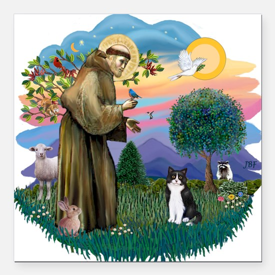 St. Fran (ff) - Black/white c Square Car Magnet 3&