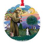 St. Fran (ff) - Black/white c Round Ornament