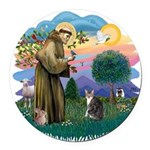 St. Fran (f)-Tabby/white cat Round Car Magnet