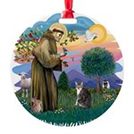 St. Fran (f)-Tabby/white cat Round Ornament