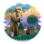 St. Fran (ff) - Maine Coon (# Round Car Magnet