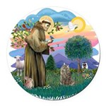 St. Fran (ff) - Norw. Forest Round Car Magnet