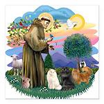 St. Fran (ff) - 3 Persian Cat Square Car Magnet 3&