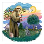 St. Fran (ff) - Russian Blue Square Car Magnet 3&q