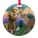 R-St Francis-ShetlandPONY.png Round Ornament