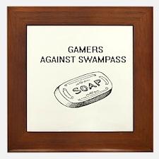 gamers against swamp ass Framed Tile