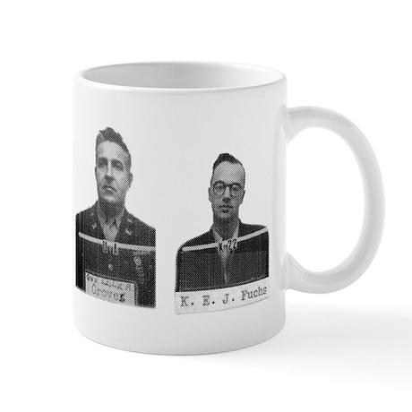 Badges mug: Oppenheimer, Teller, Groves, Fuchs