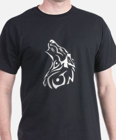 Tribal Wolf Howling 2 Black T-Shirt