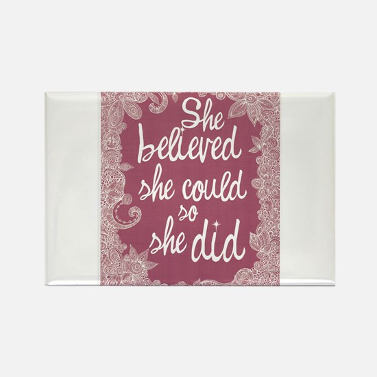 She Believed She Could Rectangle Magnet