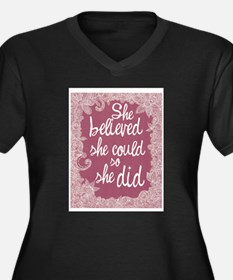 She Believed She Could Women's Plus Size V-Neck Da