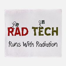 RAD TEch runs with radiation.PNG Throw Blanket