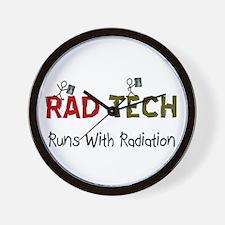 RAD TEch runs with radiation.PNG Wall Clock